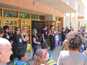 Manifestacions a les escoles Pompeu Fabra i Joan Maragall en contra de les retallades