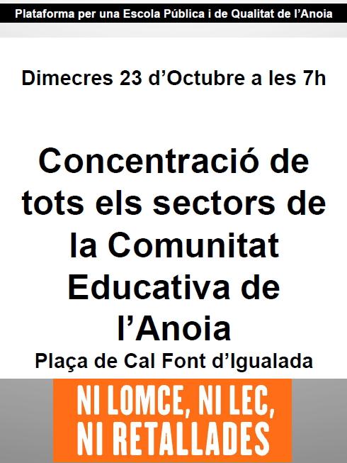 La comunicat educativa anoienca es mobilitza dimecres amb motiu de la vaga general