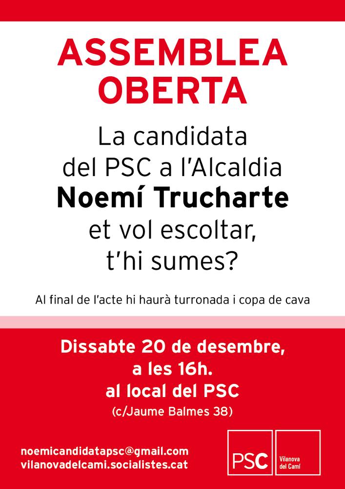 El PSC Vilanova del Camí escoltarà el veïnat en una assemblea oberta