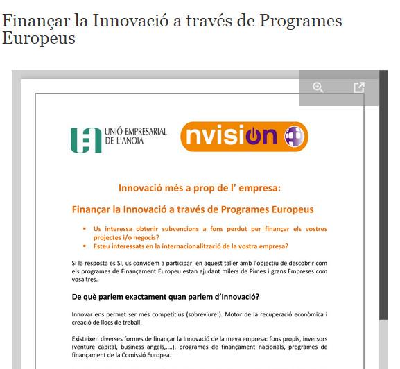 Jornada sobre innovació empresarial per a petites i grans empreses