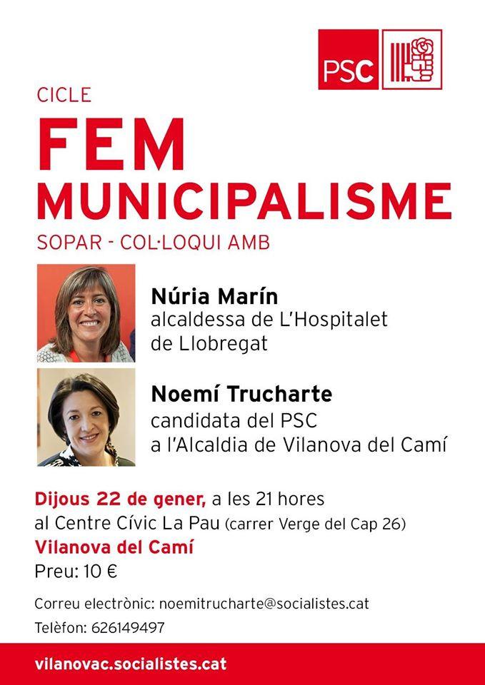L'alcaldessa d'Hospitalet, convidada del PSC al cicle 'Fem municipalisme'