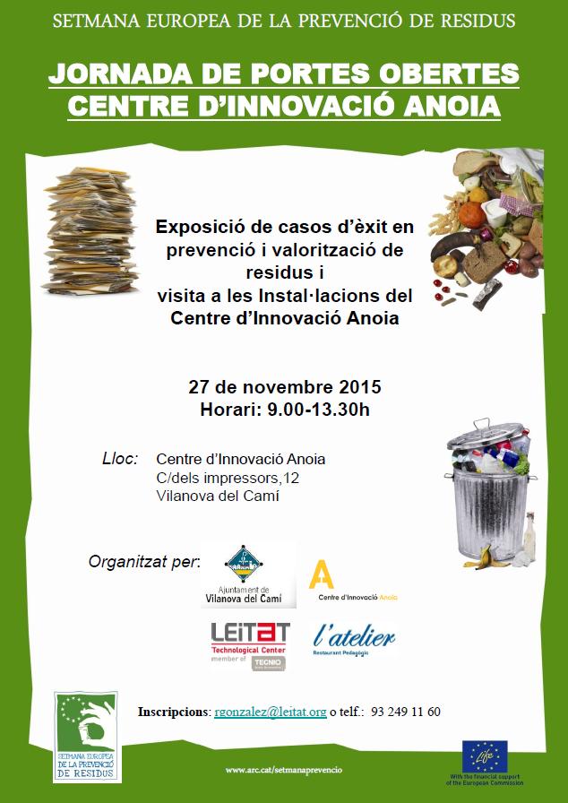 Jornada setmana europea prevenció de residus cartell