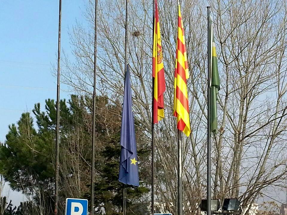 Bandera a mig pal i concentració de rebuig a la política d'expulsió de la UE