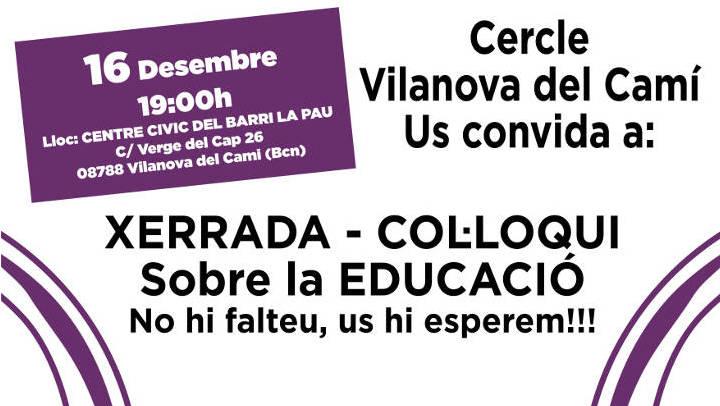 El cercle Podemos Vilanova organitza una xerrada sobre Educació