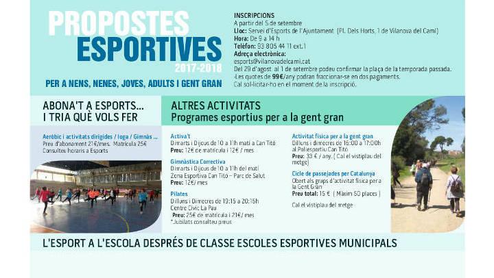 El servei d'Esports inicia les inscripcions per a les activitats dirigides i per a les Escoles Esportives