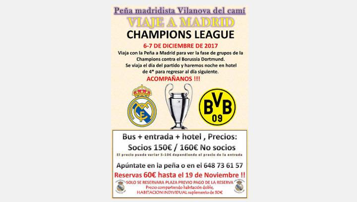 Un autocar amb 67 persones viatgen amb la Peña Madridista per veure el partit contra el Borussia Dortmund