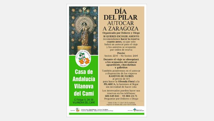 Un autobús del CC Casa de Andalucía anirà a fer una ofrena a la Pilarica