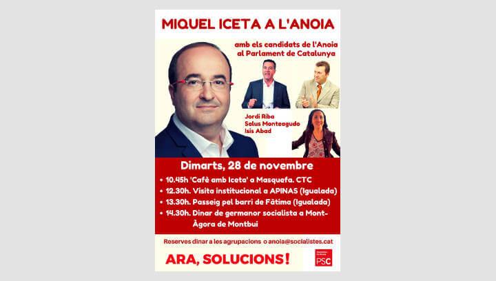 Els socialistes inicien la pre-campanya a l'Anoia amb la visita de Miquel Iceta a Masquefa, Igualada i Santa Margarida de Montbui