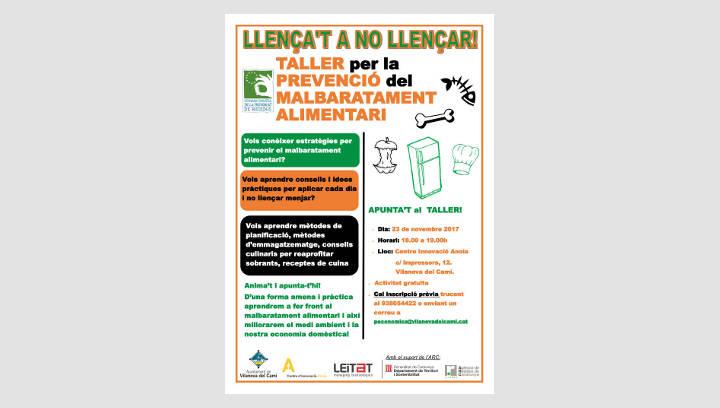 L'Ajuntament de Vilanova i Leitat organitzen un taller per prevenir el malbaratament alimentari