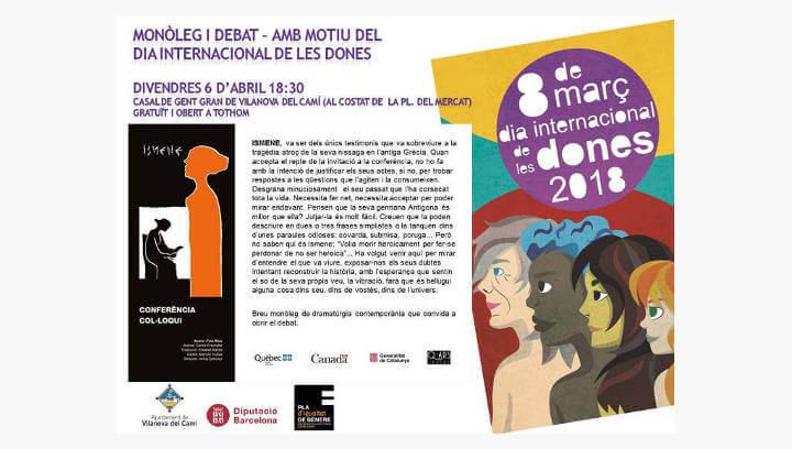 El Casal acull divendres Ismene, un monòleg teatralitzat que gira entorn al paper de la dona a l'esfera pública i els paper d'heroïnes i víctimes