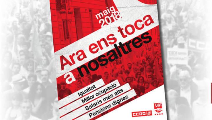 CCOO i UGT de l'Anoia anuncien concentració conjunta per celebrar l'1 de Maig