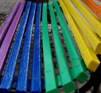 Bancs de colors i concentració en el Dia de LGTBI |FOTOS|