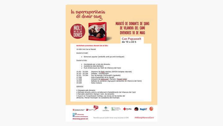 Vilanova del Camí acull una nova jornada solidària per cridar a la donació de sang