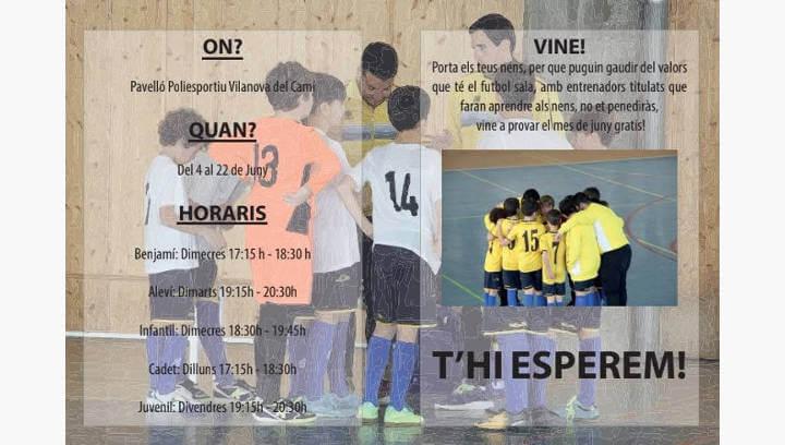 El Can Titó Vilanova escalfa de cara a la nova temporada amb entrenaments gratuïts de futbol sala  ÀUDIO 