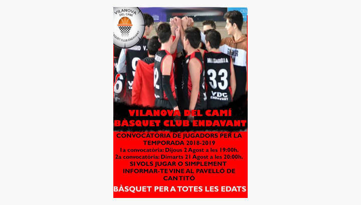 El Vilanova del Camí Bàsquet Club Endavant cerca jugadors de cara a la nova temporada