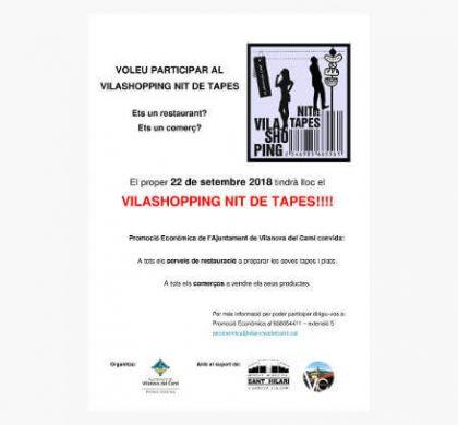 Promoció Econòmica convida comerços i restaurants a participar a una nova edició del Vilashopping nit de tapes