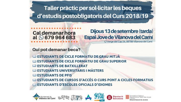 L'Espai Jove ofereix un taller pràctic per sol·licitar les beques d'estudis postobligatoris del curs 2018/19