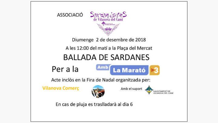 Els Sardanistes de Vilanova del Camí faran rotllana aquest diumenge en favor de la Marató de TV3