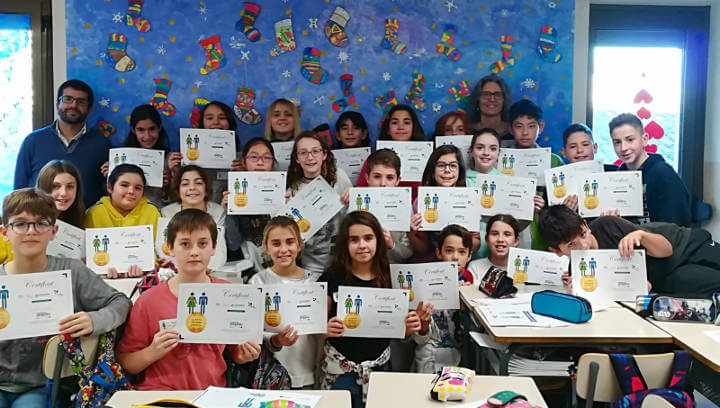 Ramon Felip i Rosa Vilarrubias participen en una jornada d'emprenedoria amb nens i nenes de 5è i 6è