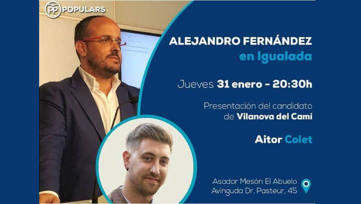 Alejandro Fernández presentarà aquest vespre Aitor Colet candidat del PP a Vilanova del Camí