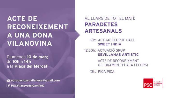 El PSC de Vilanova del Camí commemorarà el Dia de la Dona amb una matinal lúdica i de reconeixements