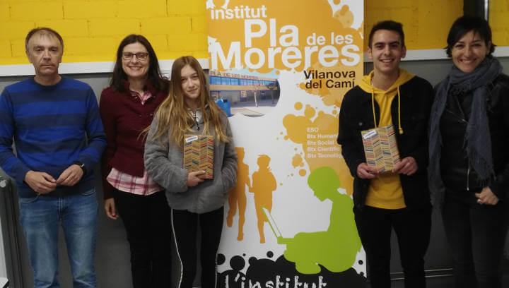 Núria Abad i Adrián Vázquez, alumnes del Pla de les Moreres, guardonats amb el Premi Sambori de narrativa