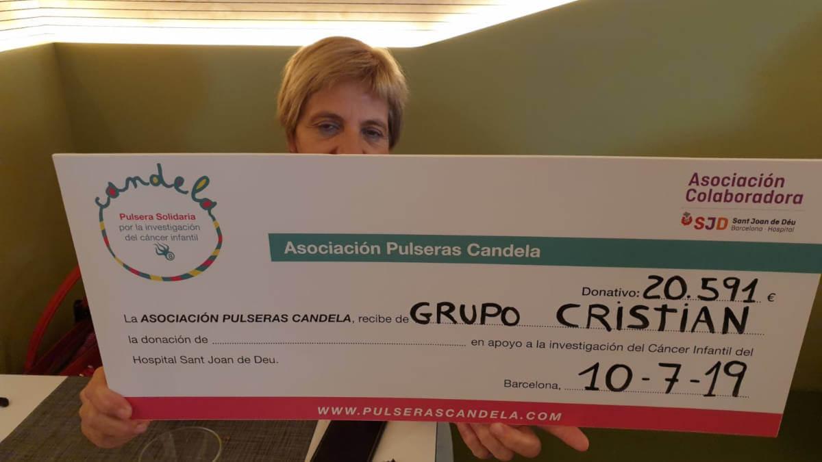 El Grupo Candelero Cristian ha lliurat a Sant Joan de Déu 20.591 € per a la investigació del càncer infantil