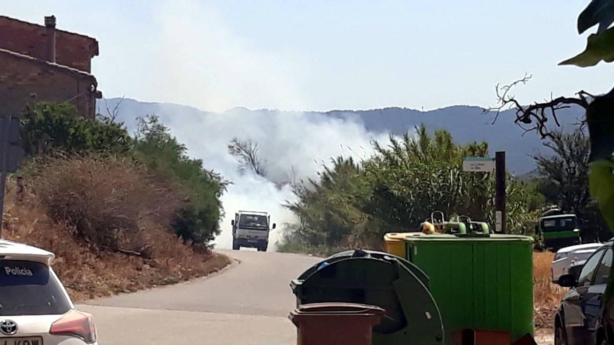 Un petit incendi crema un camp de conreu i canyes en el carrer dels Moletons