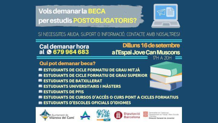 L'Espai Jove ofereix un taller pràctic per sol·licitar les beques d'estudis postobligatoris del curs 2019/20